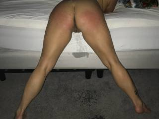 Naughty girls get spankings from Sir.