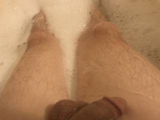 Relaxing in a long hot bubble bath prepping this cock and these balls for her to take anyway she wants.