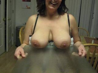 I love your tits! Wish i was sucking on them with my cock in your pussy.....mmmmmm mr schmoopy