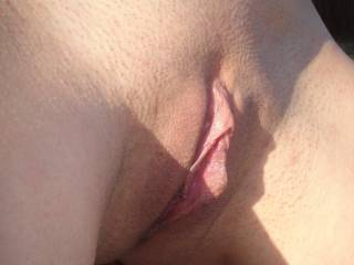 "I\'ve had several request for a closer look at my clit and pussy lips, so here you go, it even has a little ""peachfuzz"" :)"
