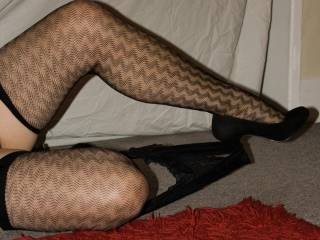 Legs look lovely in those stockings and heels