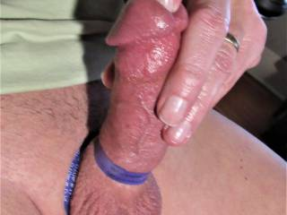 getting up with rubber bands....  hard, red cock