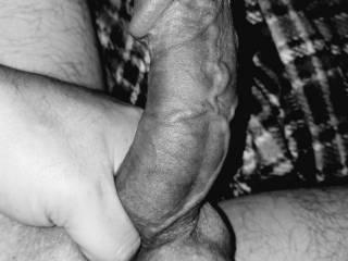 Squeezing my big veiny dick