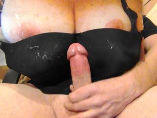 Jerking my hard cock to Sweet T\'s tasty tits and about to  cum on GF\'s black bra tribute request! Her reward for the cock tribute pics she sent me! Notice the other 7 cum stains on bra?