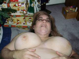 Go on share those gorgeous tits after all it is Christmas