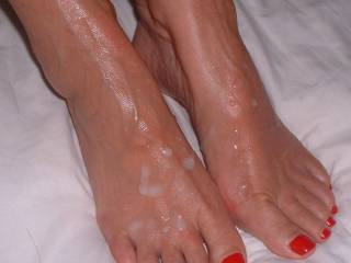 Another view of Mrs Oz\'s feet covered in my cum, for all the foot lovers out there.