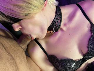 I love pleasing him... I love when he makes me moan while he slides deep down my throat