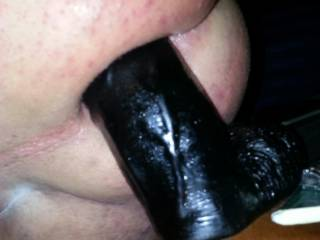 My favorite dildo just about balls deep