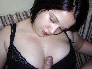 Admireing my hubbys tastey dick between my tits