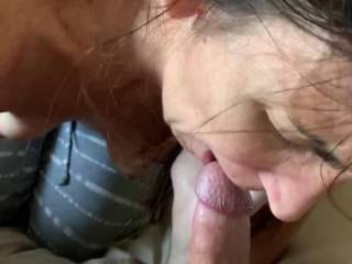 Licking and jerking my cock into her awesome mouth. Life is good!