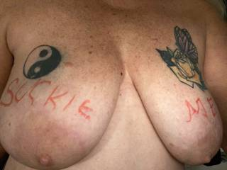 Wanna come cup these big tits together and suckle these nipples? maybe some nibbles and bites?