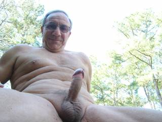 Ohhh I'd love to bump into you sitting there or standing there outdoors like that with your little nipples hard and your big cock so rigid. Mmmmmm!