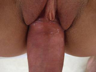 Awesome pic of your nice, thick cock stretching her tight, little, beautiful, shaved pussy.