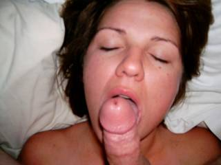 Sucking his small cock as his reward for letting me play with big cocks
