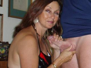 Candi Annie so happy she just loves to get a handful of stiff cock