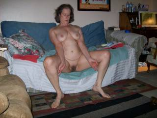 wife nude on couch