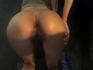 My new 22 year old sub bent over on the floor, like the bitch she is, exposing her gaping hungry anus, for my viewing pleasure. Soon after I mounted her and sodomized her then emptied my balls in her ass