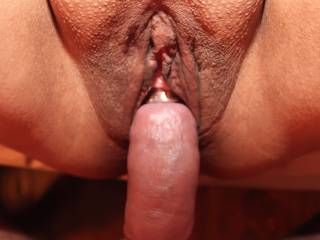 Hubby wearing a shaft ring and a head ring on his hard cock as he slips into my wet, horny pussy!