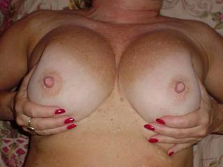 Magnificent Luscious natural beauties they are and such perfect mouth watering big nipples!! Love to cum suck and fuck them and of course spray a nice hot sticky white glaze over them!   Simply Gorgeous Hotttt, Sensual and Sexy 59 y/o!  Love to cum and have lots of erotic fun with you!!