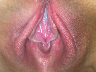 Just imagine the feeling of your cock parting those wet swollen lips, heaven !
