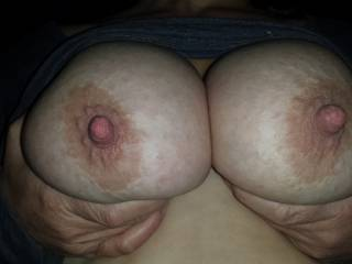 Mmm there we go, squeeze them tight while I bite and suck those huge nipples