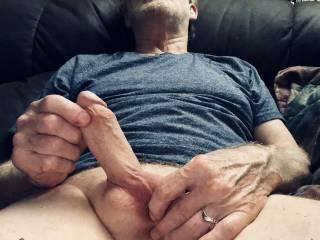 Masturbating, about to orgasm.