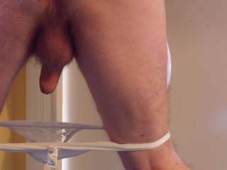 Have I been a naughty boy?, my panties have been pulled down ready to spank my bottom.