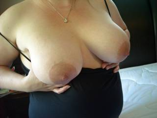 Wife 4 months pregnant. Tits just starting to swell.