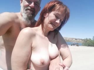 at the river....mr likes tan titties