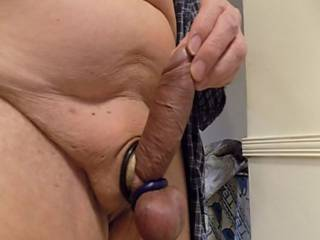 trying on new ock ring holdingmy cock to present better view