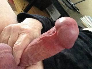 Rock hard and ready to shoot!  Leaked precum for a half hour.  Needs to be swallowed by a warm mouth or an equally warm hole 😉