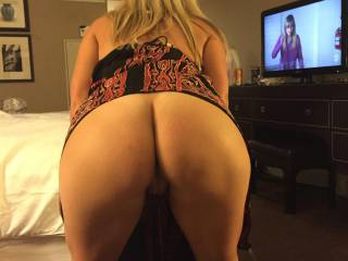 Wife bending over before we head out