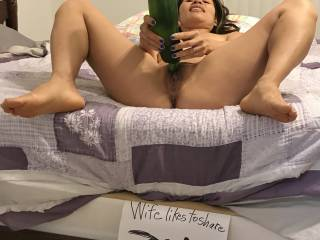 Our garden did well this year and grew this nice sized zucchini. We thought she could pose with it while doing a Genuine member pic. Of course the wife thought it looked like a giant dick and wanted to have fun playing with it.