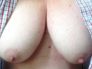 wife wearing my shirt teasing from home