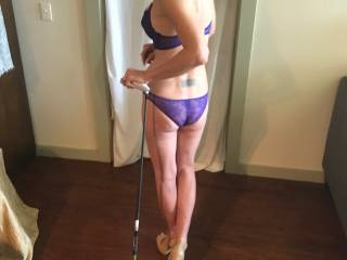 My little hot wife loves to dress up and pose for pics I wanted a golf theme pic