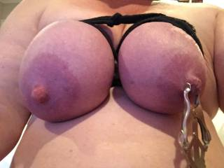 Dove loves her tits tied and nipples clamped. Her pussy get so creamy as she plays....