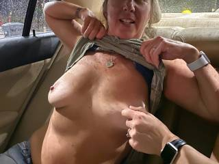 Back seat of the car with a girl I picked up. We went to the strip club, then took turns fucking each other\'s husband.