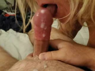 My girl made love to my cock until I blew my load and had to jack another out and then she batted clean up....yum!