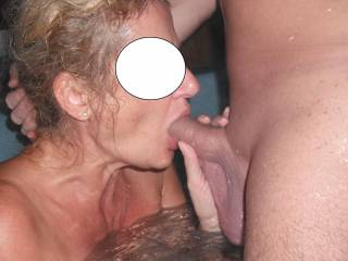 Taking his thick cock down my throat in the spa