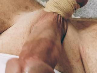 Tied balls on young 8 inch cock