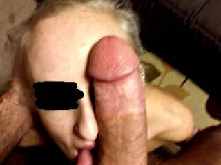 Look at my cock. It\'s as big as her face. And somehow she swallows almost the whole thing.