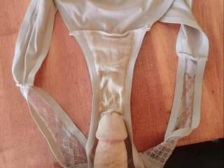 Love the feeling of rubbing cum stained panties on my hard cock.  It makes me explode.