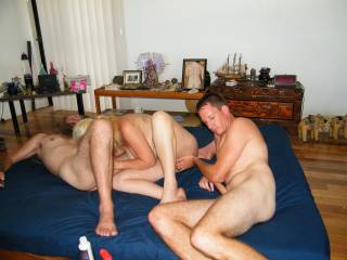Just what I want my sexy little wife to do - have two cocks !.......