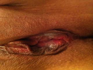 close up of my creamy girl cum! who wants to clean me off?