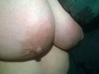 Mmmmmm wife's titties up close ready for squeezing, sucking, nibbling and cum