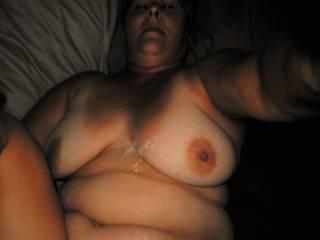 Horny wife got cummed on.