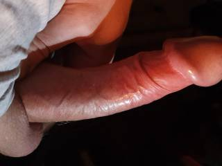 My hard cock being squeezed