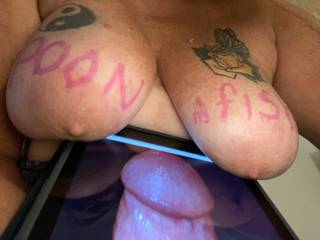 Come rub that big head all over these nipples Poonafish......spank them with that cock and juice all over