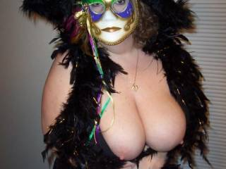 in a zoig mardi gras your tits would be dripping with beads of cum and bet you'd love that!