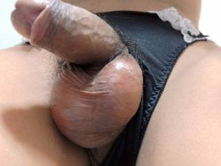 My cock with black panties.